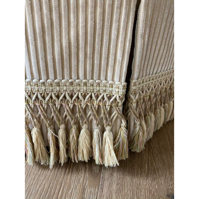 Traditional Custom Tufted Upholstered Ottoman with Fringe For Sale - Image 3 of 6