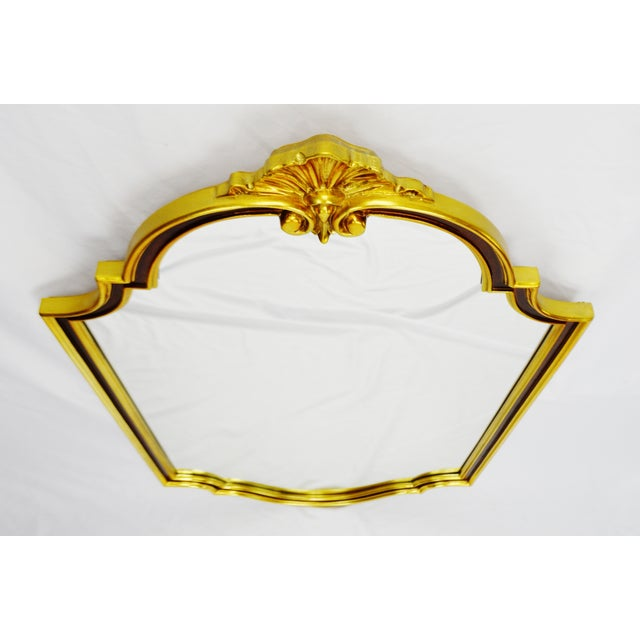 Large vintage Carolina Mirror Corporation wall mirror with burgundy and gold colored frame. - Image 3 of 10