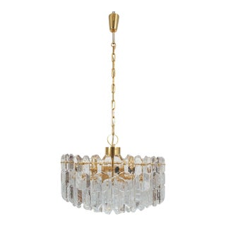 J.T. Kalmar Gold Brass Tiered Crystal Glass Chandelier Palazzo Lamp, circa 1960 For Sale