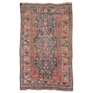 Late 19th Century Antique Qashqai Rug - 6′4″ × 10′5″ For Sale