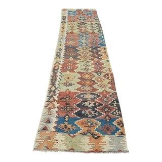 1960s Traditional Handmade Oushak Flatweave Hall Kilim - 2′6″ × 12′2″ For Sale
