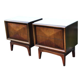 1960s Mid-Century Modern United Furniture Diamond Front Walnut Side Tables - a Pair