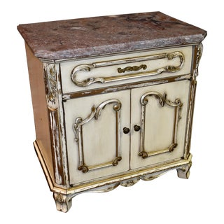 1950s Vintage Distressed Marble Top Italian Style Cabinet For Sale