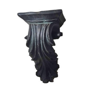 1970s Neoclassic Scrolling Black Cast Stone Acanthus Leaved Corbel Wall Shelf For Sale