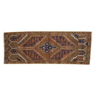 "Vintage Distressed Oushak Rug Mat Runner - 1'3"" X 3'4"" For Sale"