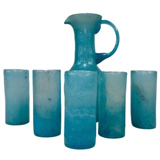 Venini Murano Blue Pulegoso Beverage Set For Sale