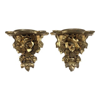 Italian Carved Floral Giltwood Wall Brackets - a Pair For Sale