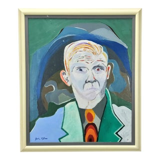 Mid-Century Modern Portrait of a Man Painting For Sale