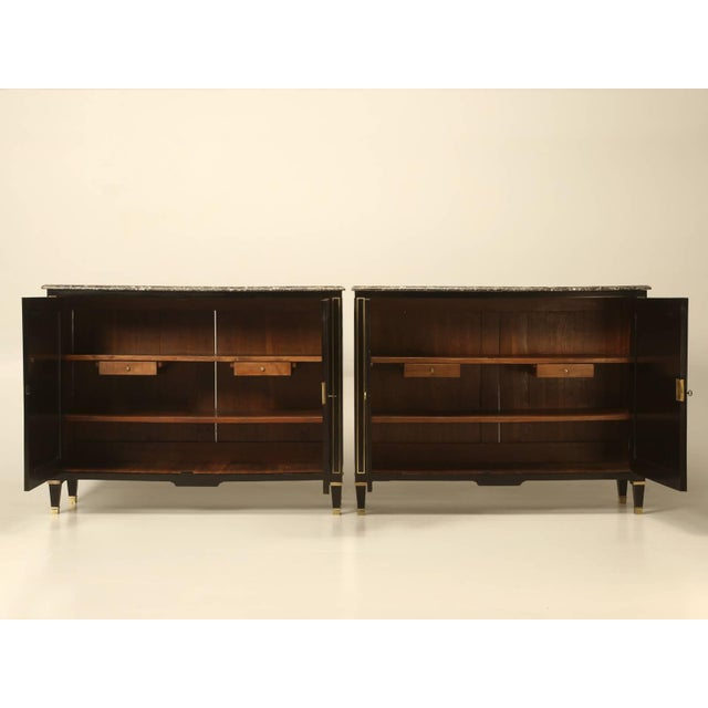 Brown Matching Louis XVI Ebonized Buffets With Marble Tops - a pair For Sale - Image 8 of 10