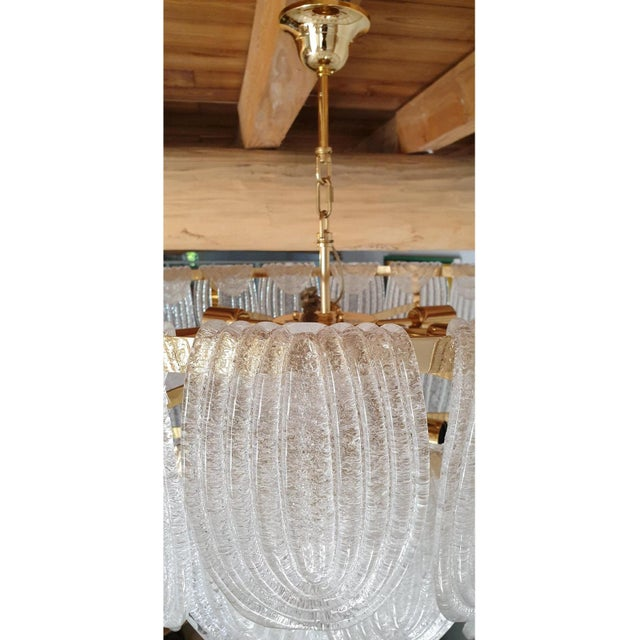 Transparent Large Mid Century Modern Clear Murano Glass Chandelier, Mazzega Style, Italy 1970s For Sale - Image 8 of 11