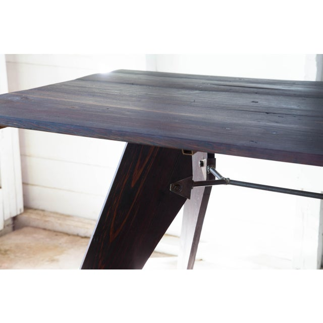 """Black Mid-Century Handmade Black Dining Utility Table 71"""" For Sale - Image 8 of 12"""