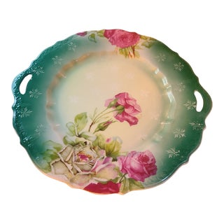 Antique Prussian Rose Pattern Handled Cake Plate For Sale