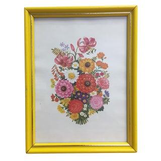 Yellow Framed Flower Wall Art