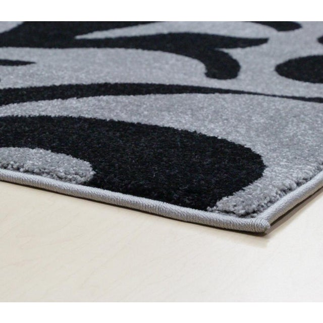 """Transitional Floral Gray & Black Rug - 5'3"""" x 7'7"""" - Image 4 of 6"""