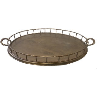 Vintage Faux Bamboo Brass Serving Tray