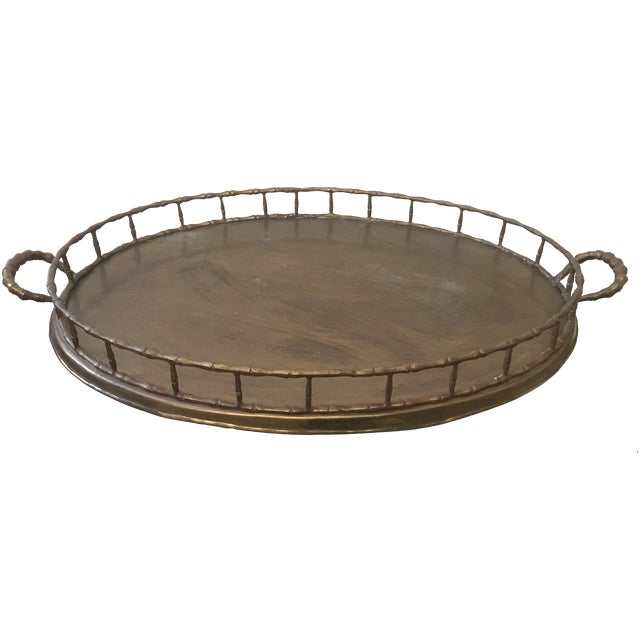 Vintage Faux Bamboo Brass Serving Tray - Image 1 of 3
