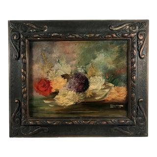 1935 Floral Still Life Oil Painting, Framed For Sale