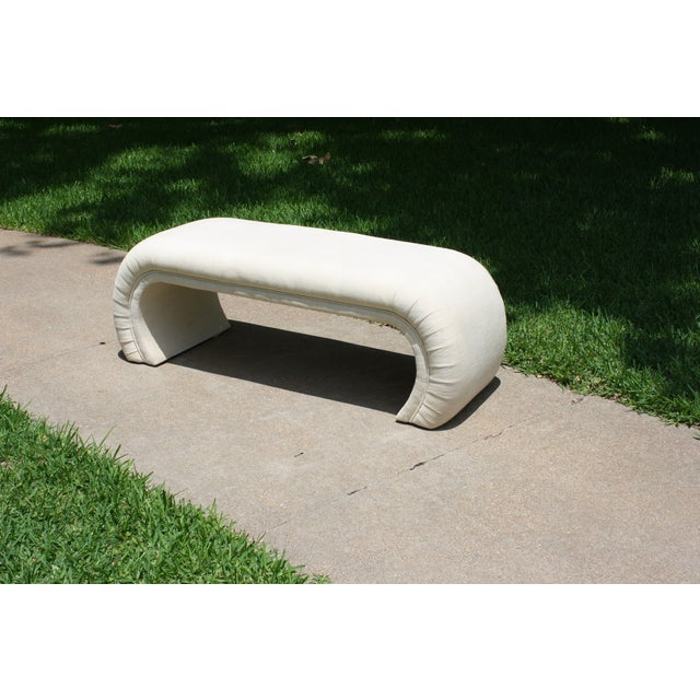 Milo Baughman Style Waterfall Upholstered Bench - Image 4 of 9