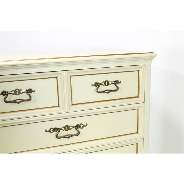 1960s Vintage Provincial Cream Highboy Chest of Drawers For Sale - Image 5 of 10