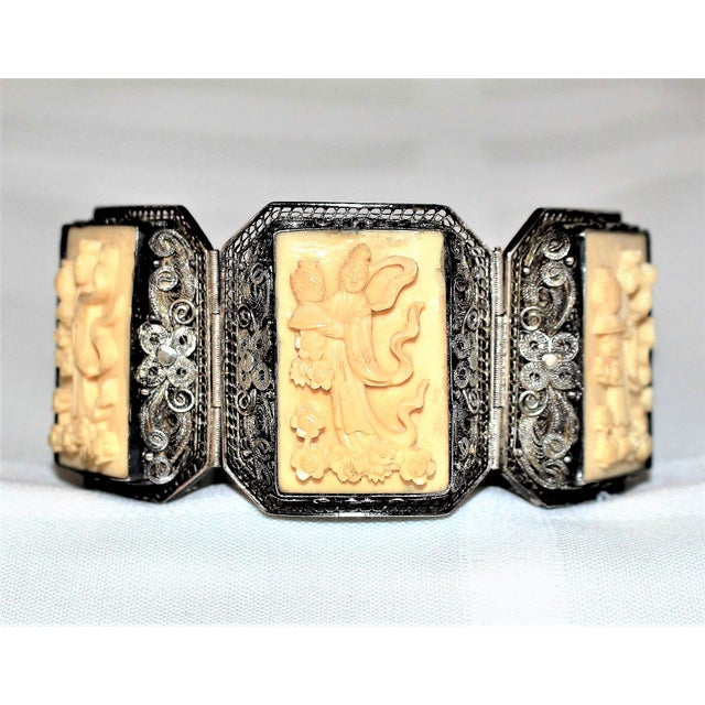 Chinese Sterling and Carved Bone Bracelet For Sale In Los Angeles - Image 6 of 6