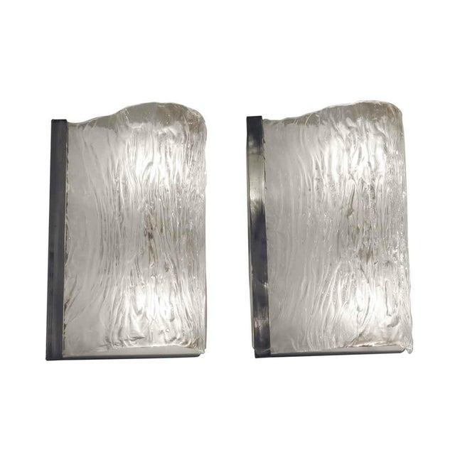 Metal Textured Wavy Murano Glass Sconces - a Pair For Sale - Image 7 of 7