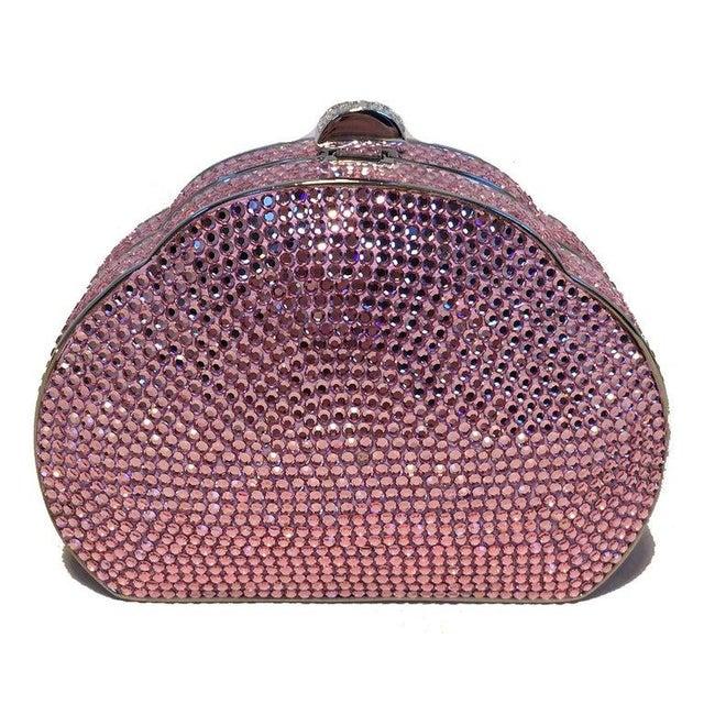 Judith Leiber Pink Swarovski Crystal Minaudiere Evening Bag in excellent condition. Pink swarovksi crystal exterior...