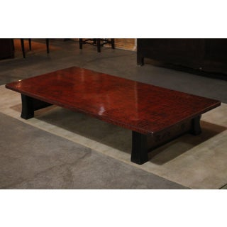 Japanese Red Lacquer Coffee Table With Black Legs Preview
