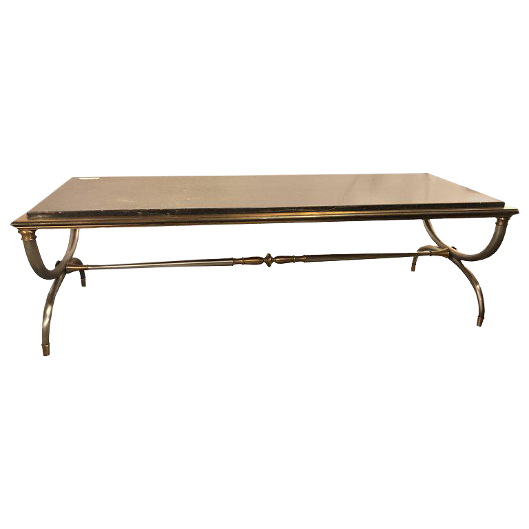 Exceptional Hollywood Regency Steel And Brass Black Marble Top Maison Jansen Coffee  Table