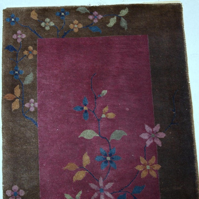 Early 20th Century 1920s Handmade Antique Art Deco Chinese Rug 1.10' X 3.10' For Sale - Image 5 of 10