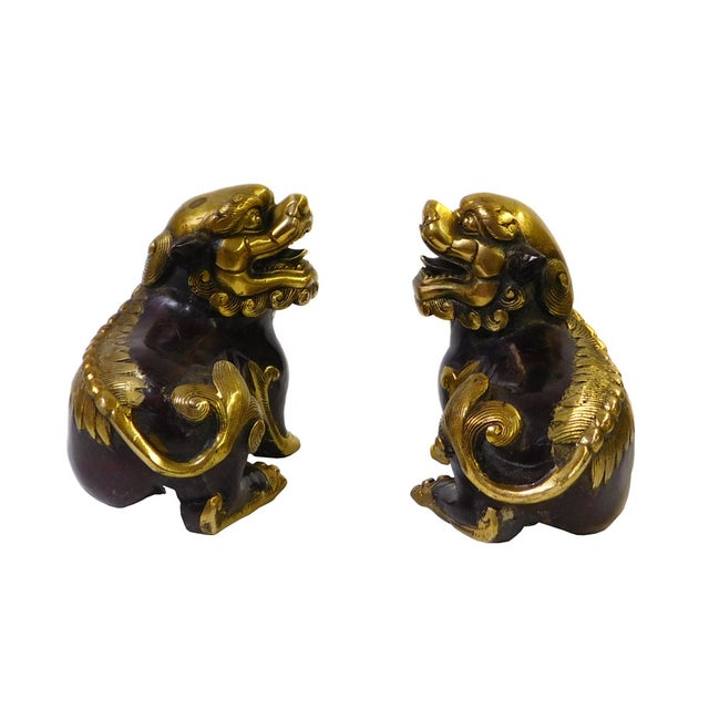 Chinese Bronze Golden Fengshui Foo Dogs - Pair - Image 3 of 6