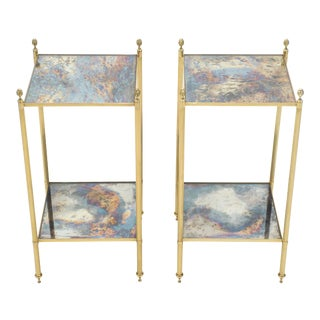 Pair of French Maison Jansen Brass Mirrored Two-Tier End Tables 1960s For Sale