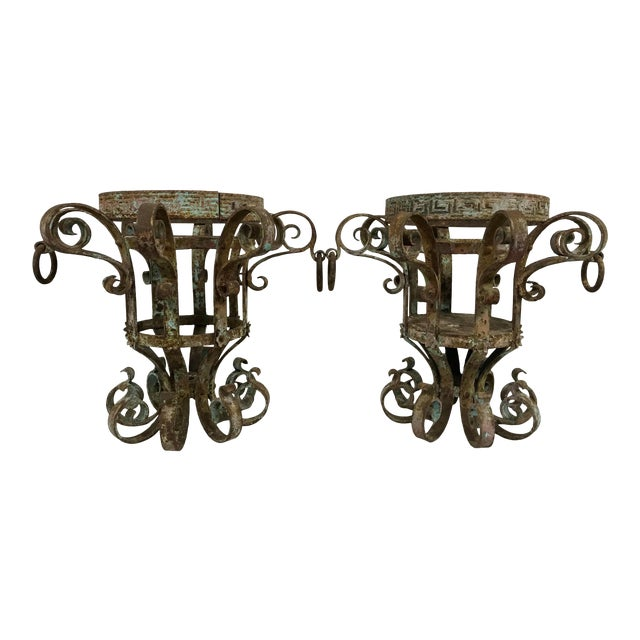 Wrought Iron Fretwork Planters a Pair For Sale