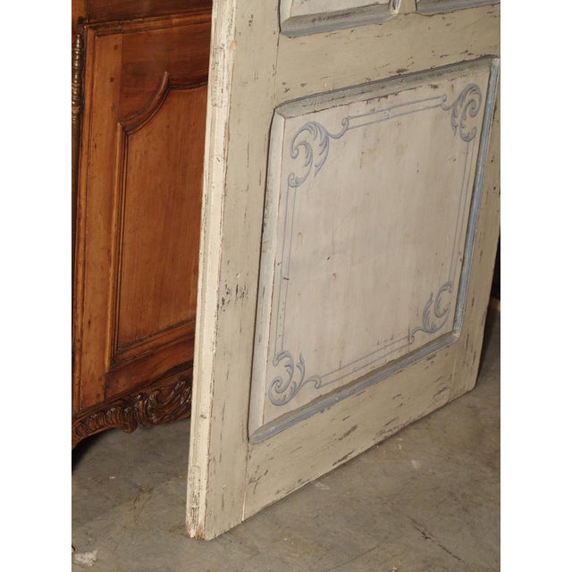 Wood Blue and White Painted Antique Door From Lombardy, Italy Circa 1850 For Sale - Image 7 of 13