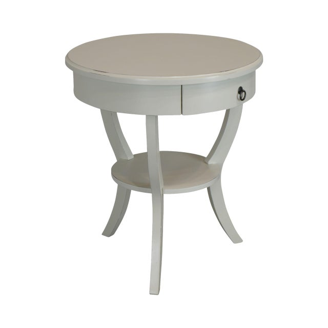 Round White One Drawer Side Table For Sale