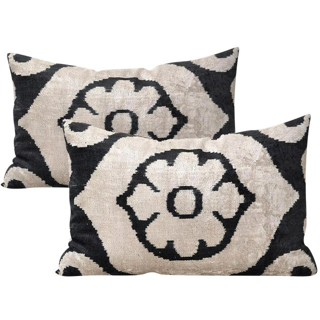 Allary Silk Velvet Ikat Pillows - A Pair - Image 1 of 2