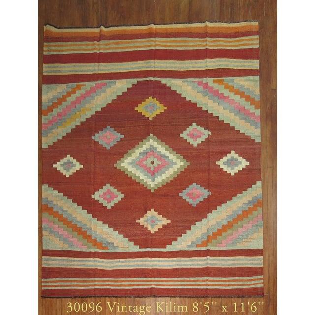 """Vintage Room Size Turkish Kilim - 8'5"""" x 11'6"""" - Image 2 of 5"""