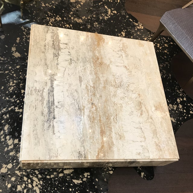 Mid-Century Modern Gorgeous Plinth Travertine Cocktail Table in the Manner of Baughman For Sale - Image 3 of 9