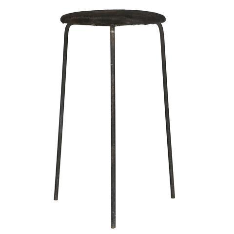 Wrought Iron & Cowhide Seat Stool - Image 2 of 4