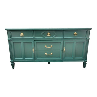 Bohemian Painted Green Buffet/Credenza For Sale