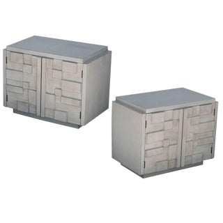Pair of Brutalist Nightstands by Lane For Sale