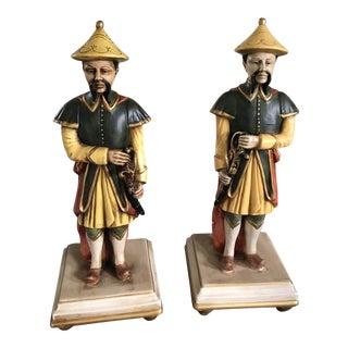 Italian Mandarin Warrior Statue Lamps - a Pair For Sale