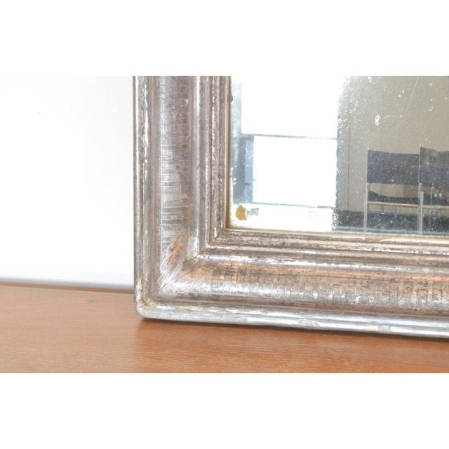French Antique Louis Philippe Mirror With Silver Frame For Sale - Image 3 of 4