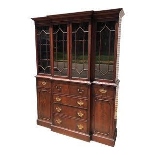 Antique Charak Mahogany Chippendale China Cabinet For Sale