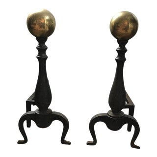 Antique Colonial Fire Place Irons - a Pair For Sale
