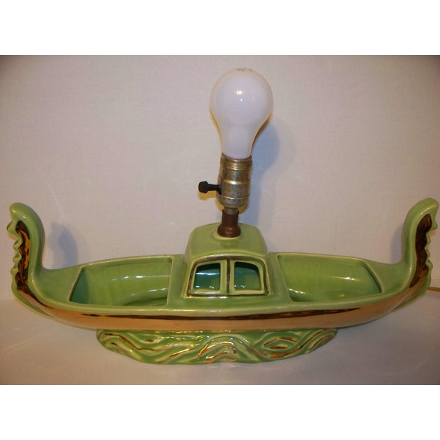 Asian Mid-Century Green Boat Lamp For Sale - Image 3 of 11