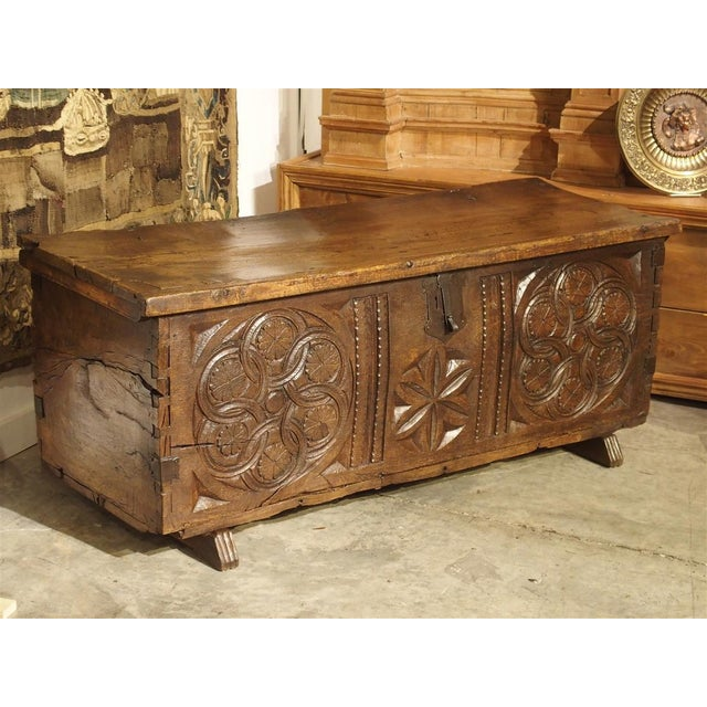 Large Carved Oak Plank Trunk From the Basque Country, Circa 1650 For Sale - Image 13 of 13