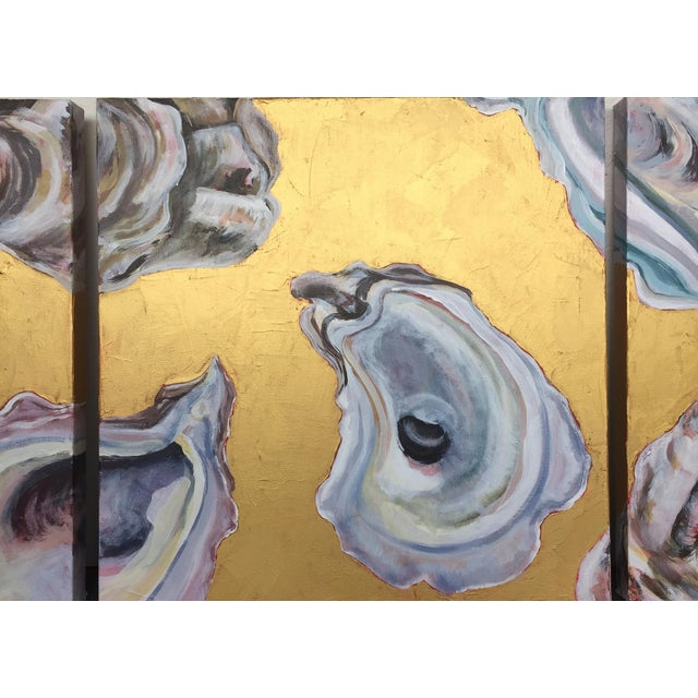 "2020s Contemporary Oysters Paintings on Canvas ""Gold Coast I, Ii, Iii"" by Leigh-Anne O'Brien (Lagob) - Set of 3 For Sale - Image 5 of 13"