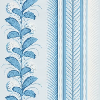 Schumacher Hydrangea Drape Wallpaper in Delft For Sale