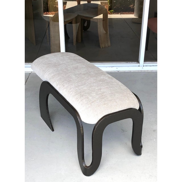Black Pair of Abstract Modern Heavy Bronze Enamel Benches Ottomans, 1980s For Sale - Image 8 of 13