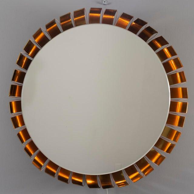 Gold Large Mid Century Bronze Frame Back Lit Mirror For Sale - Image 8 of 11